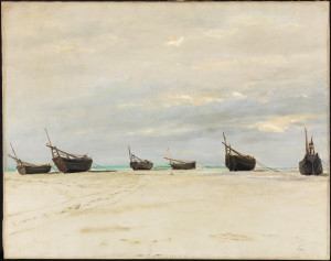 Boats on the Beach at Berck, ca. 1876.